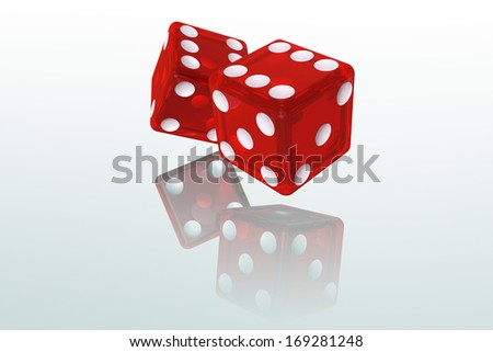 Isolated Red Dice 3D Illustration (with clipping path) - stock photo