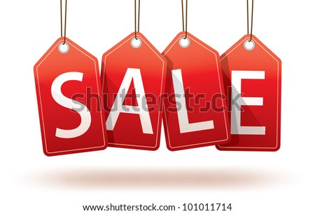 Isolated red hanging sales tags with optional ground shadow - stock photo