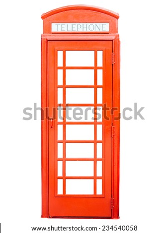 Isolated red telephone box on white background. - stock photo
