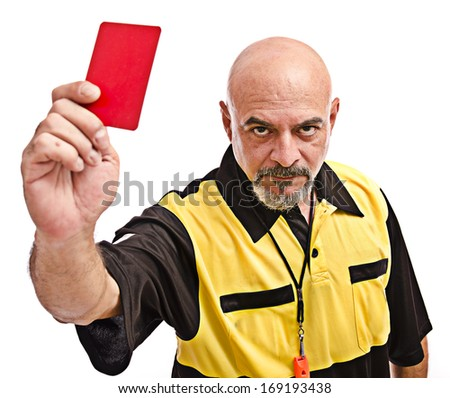 Isolated referee show red card - stock photo