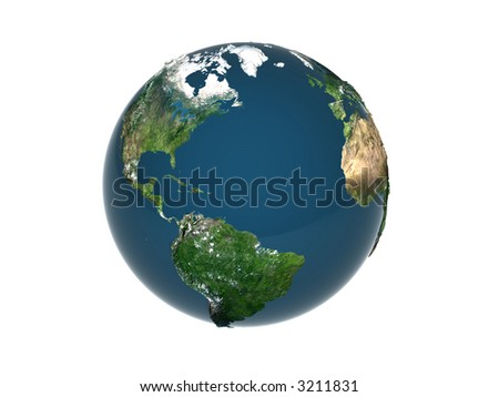 isolated rendered Earth on white background
