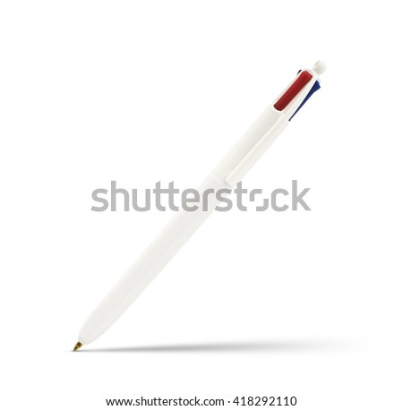 Isolated retractable pen on a white background. - stock photo