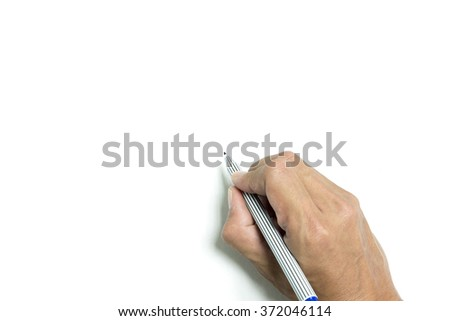 Isolated right hand is writing on white background - stock photo