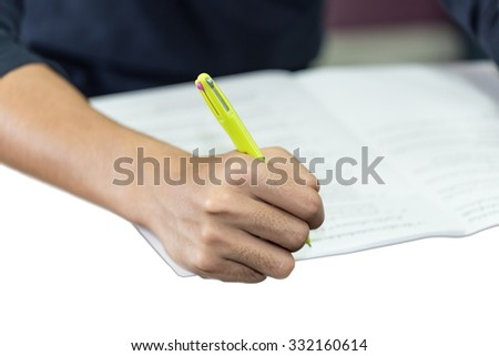 isolated right hand write document