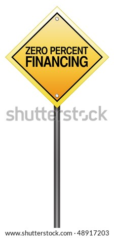 "Isolated Road Sign Metaphor with ""Zero Percent Financing"" - stock photo"