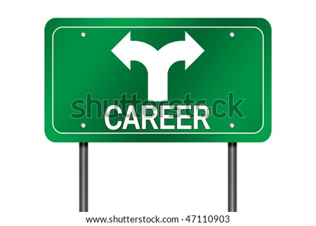 "Isolated Road Sign with ""Career"" and Decision Arrow"