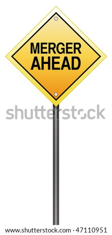 "Isolated Road Sign with ""Merger Ahead"" - stock photo"
