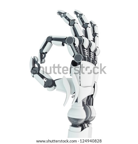 Isolated robotic arm showing Ok on white background - stock photo