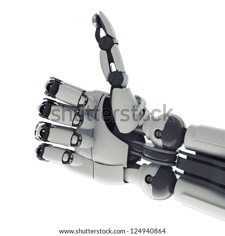 Isolated robotic arm showing okay sign on white background - stock photo