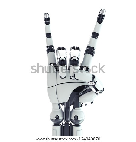 Isolated robotic arm showing rock sign on white background - stock photo