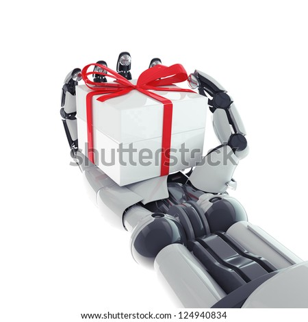 Isolated robotic arm with gift on white background - stock photo