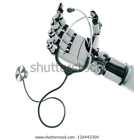 Isolated robotic arm with stethoscope on white background - stock photo