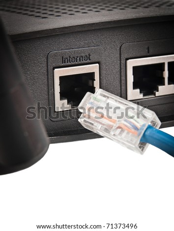 Isolated router on white background - stock photo