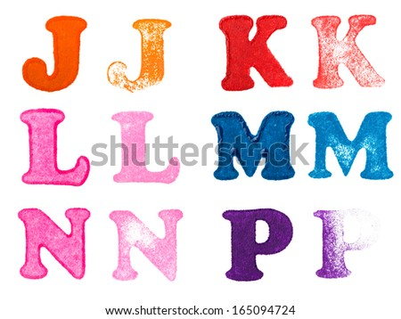 Isolated rubber stamp letters set. J - P consonants. - stock photo