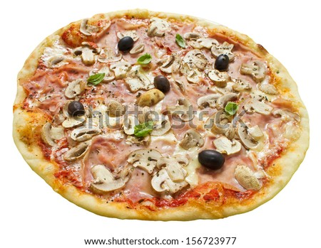 Isolated rustic thin crust pizza with tomato sauce, mozzarella, ham, mushrooms, olives and fresh basil