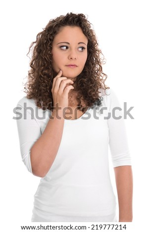 Isolated sad and thoughtful young woman looking sideways. - stock photo