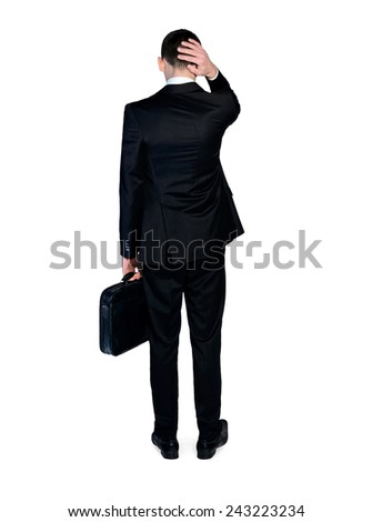 Isolated sad business man with suitcase - stock photo