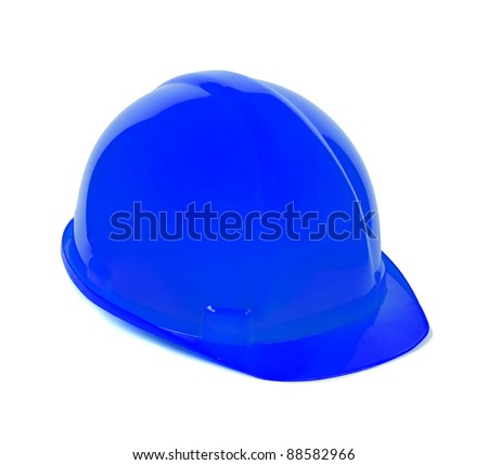 Isolated safety blue helmet for workers - stock photo