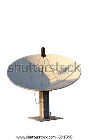 Isolated satellite dish - stock photo
