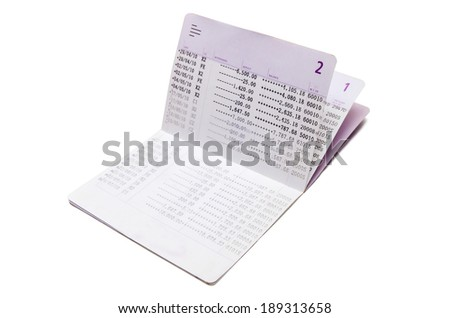 Isolated saving account passbook - stock photo