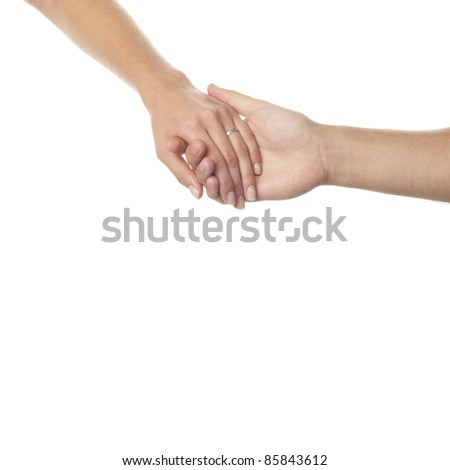 Isolated scene with weeding hands of spouses. - stock photo