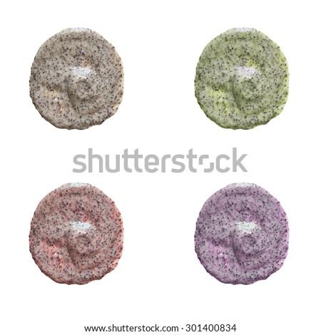 Isolated scrub samples set - stock photo