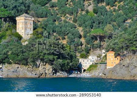Isolated sea village in the promontory of Portofino (north of Italy) - stock photo