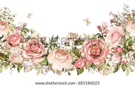 Isolated Seamless Border With Pink Flowers Leaves Vintage Watercolor Floral Pattern Leaf And