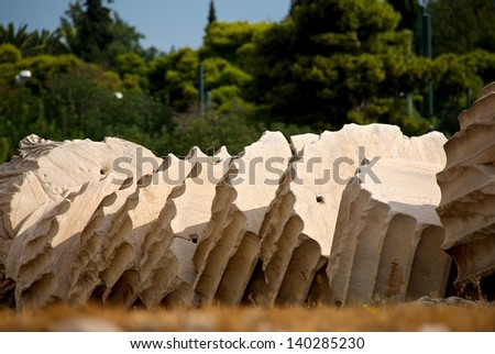 Isolated sections of a fallen column at the Temple of Zeus in Athens Greece - stock photo