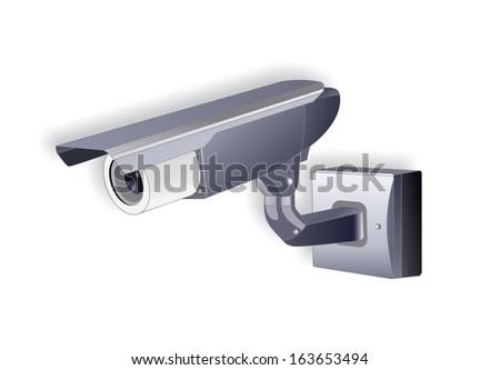 Isolated security camera - Stock Image - stock photo