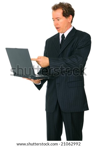 isolated senior caucasian businessman with confused expression looking at laptop