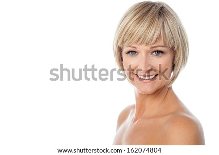 Isolated sensual woman with bare body - stock photo