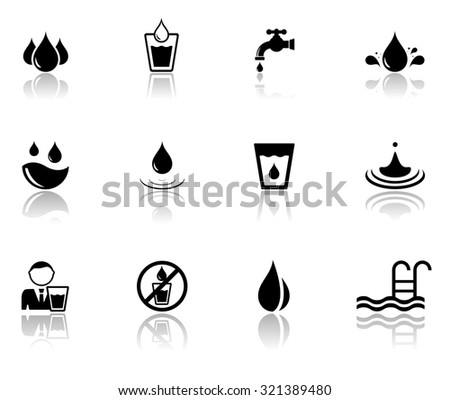 isolated set of black water icons with mirror reflection silhouette - stock photo