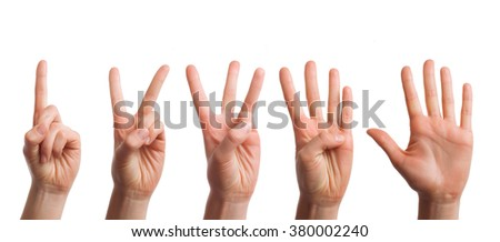 Isolated set of counting hands on a white background