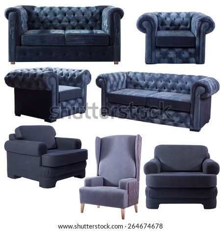 Isolated set of denim sofa - stock photo