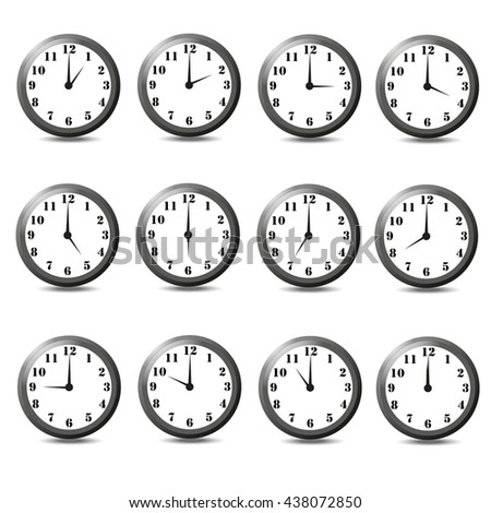 Isolated set of twelve clock white background. One hour,two hour,three hour,four hour,five hour,six hour,seven hour,eight hour,nine hour,ten hour,eleven hour,twelve hour. - stock photo