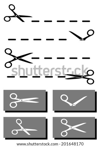 isolated set scissors, coupon and dotted line collection