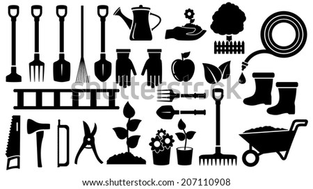 isolated set twenty seven black gardening  tools - stock photo