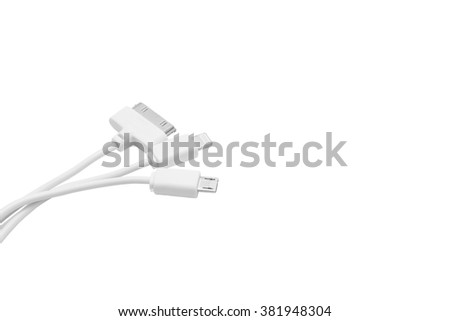 Isolated several smart phone chargers - stock photo