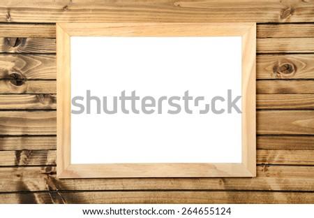 isolated sheet frame on wood background - stock photo