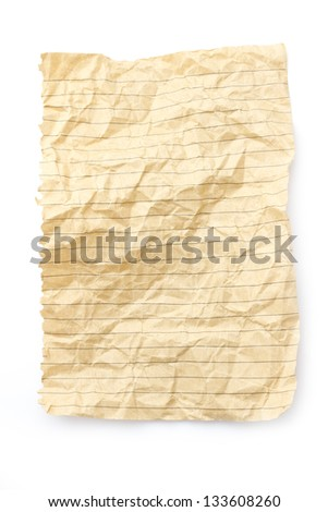 isolated sheet of brown lined recycling paper - stock photo