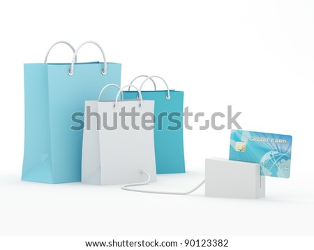 Isolated shopping bags with blue credit card - 3D Render Note: All Devices design and screen interface graphics of this picture are designed by the contributor him self. - stock photo