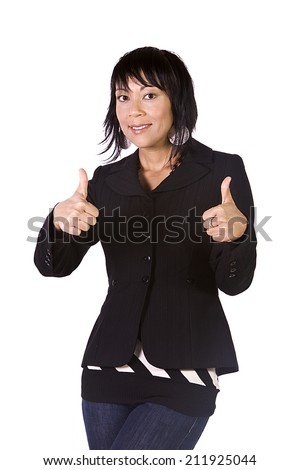 Isolated Shot of a Beautiful Asian - Hispanic Girl Giving the Thumbs Up