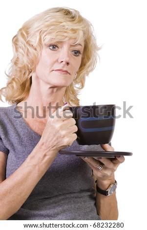 Isolated Shot of a Woman Drinking Coffee Standing Up