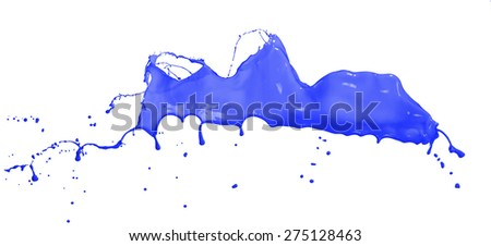 Isolated shot of blue paint splash on white background
