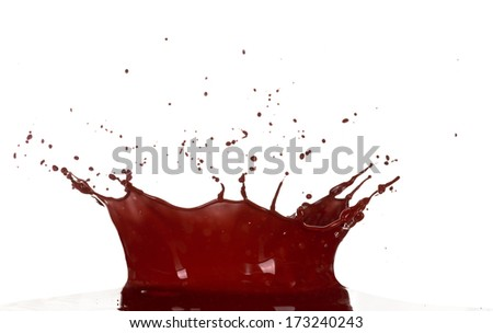 Isolated shot of chocolate splash on white background