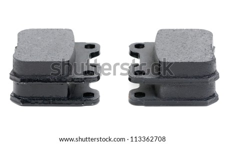 Isolated shot of disk brake parts for a German car - stock photo
