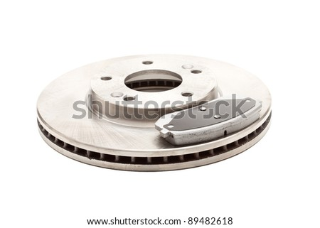 Isolated shot of front disk brake and pad for a Korean Car - stock photo