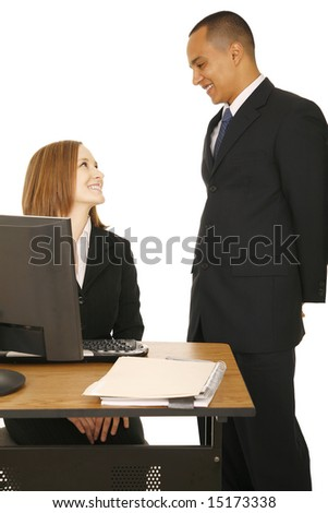 isolated shot of two business people smiling to each other. concept for success, business related, or office affair