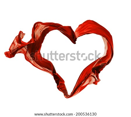 Isolated shots of freeze motion of red satins in heart shape, isolated on white background - stock photo